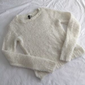 White Fuzzy Crew Neck Sweater H&M